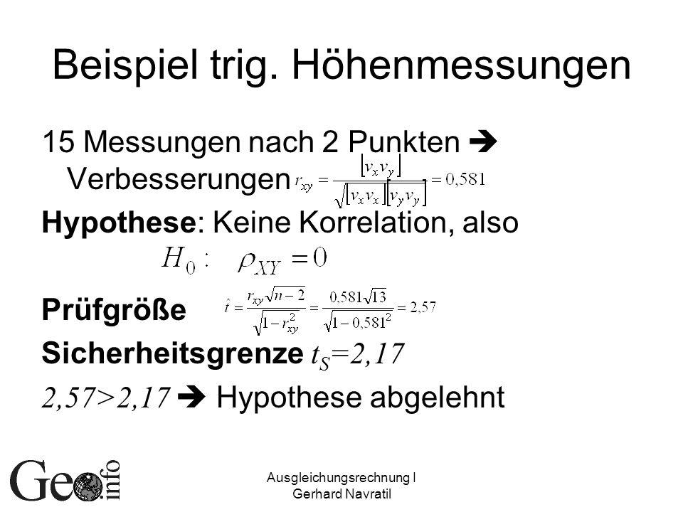 Ausgleichungsrechnung I Gerhard Navratil Beispiel trig. Höhenmessungen 15 Messungen nach 2 Punkten Verbesserungen Hypothese: Keine Korrelation, also P