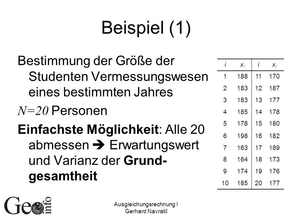 Ausgleichungsrechnung I Gerhard Navratil Beispiel (1) Bestimmung der Größe der Studenten Vermessungswesen eines bestimmten Jahres N=20 Personen Einfac
