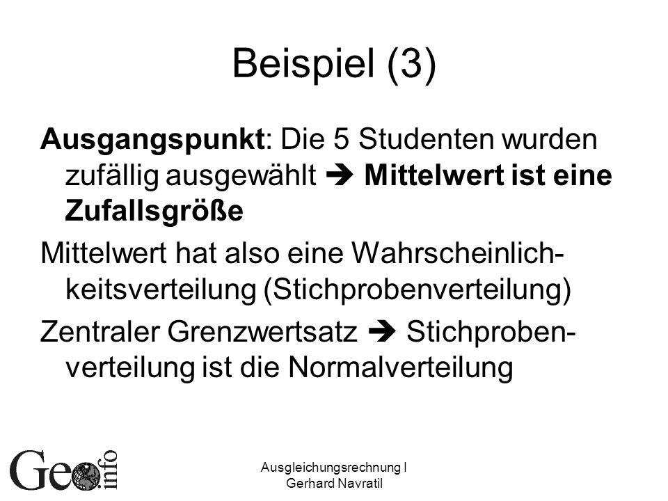 Ausgleichungsrechnung I Gerhard Navratil Beispiel (3) Ausgangspunkt: Die 5 Studenten wurden zufällig ausgewählt Mittelwert ist eine Zufallsgröße Mitte