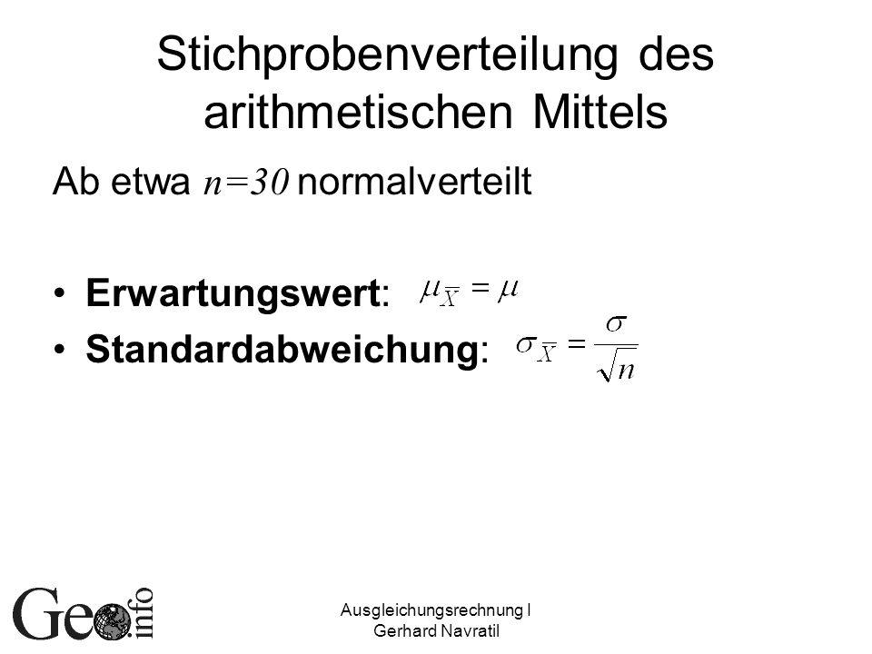 Ausgleichungsrechnung I Gerhard Navratil Stichprobenverteilung des arithmetischen Mittels Ab etwa n=30 normalverteilt Erwartungswert: Standardabweichu