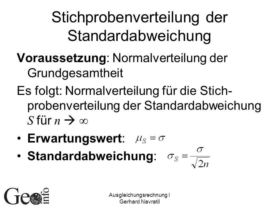 Ausgleichungsrechnung I Gerhard Navratil Stichprobenverteilung der Standardabweichung Voraussetzung: Normalverteilung der Grundgesamtheit Es folgt: No