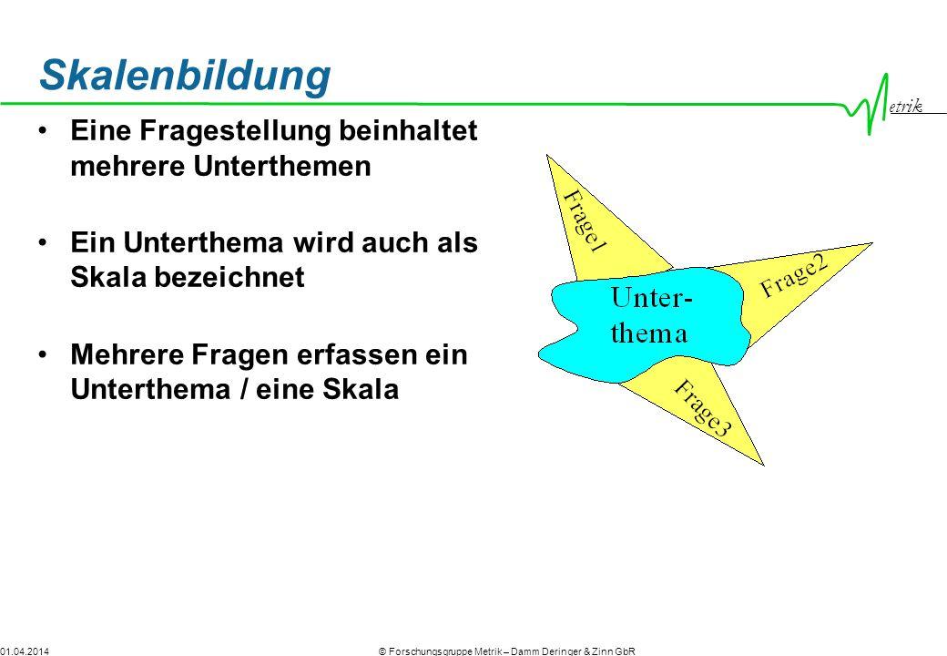 etrik © Forschungsgruppe Metrik – Damm Deringer & Zinn GbR01.04.2014 Skalenbildung Eine Fragestellung beinhaltet mehrere Unterthemen Ein Unterthema wi
