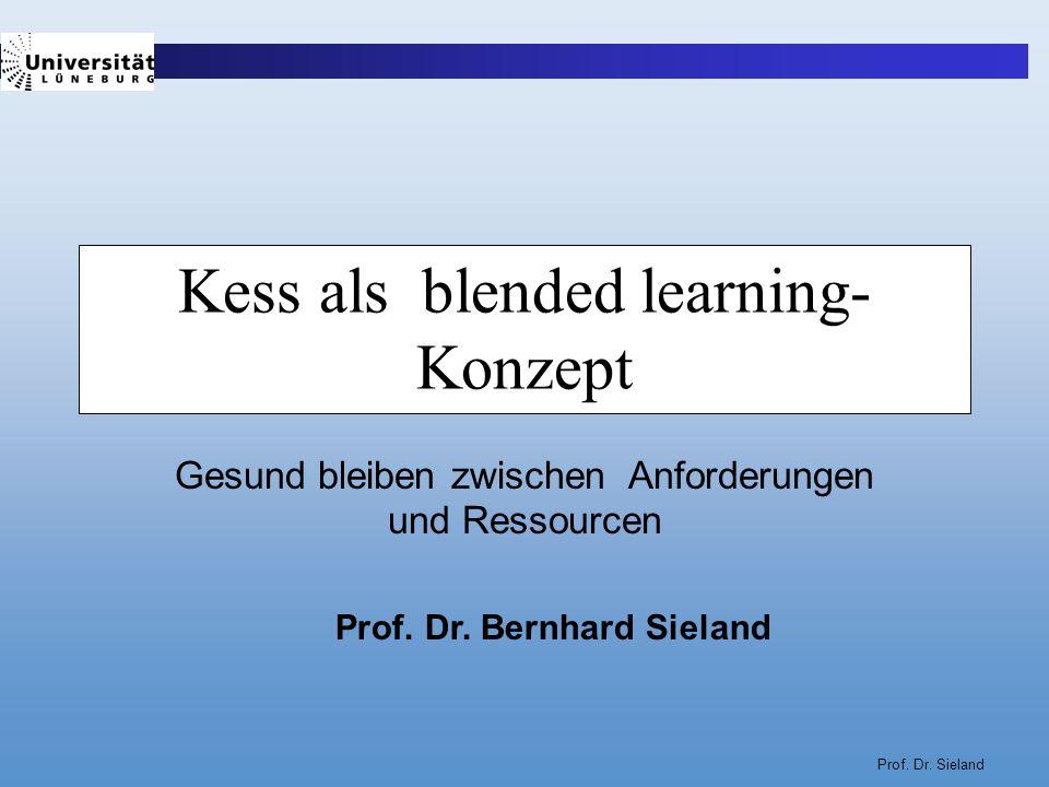 Prof. Dr. Sieland Kess als blended learning- Konzept Gesund bleiben zwischen Anforderungen und Ressourcen Prof. Dr. Bernhard Sieland