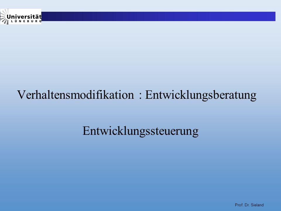 Prof. Dr. Sieland Verhaltensmodifikation : Entwicklungsberatung Entwicklungssteuerung