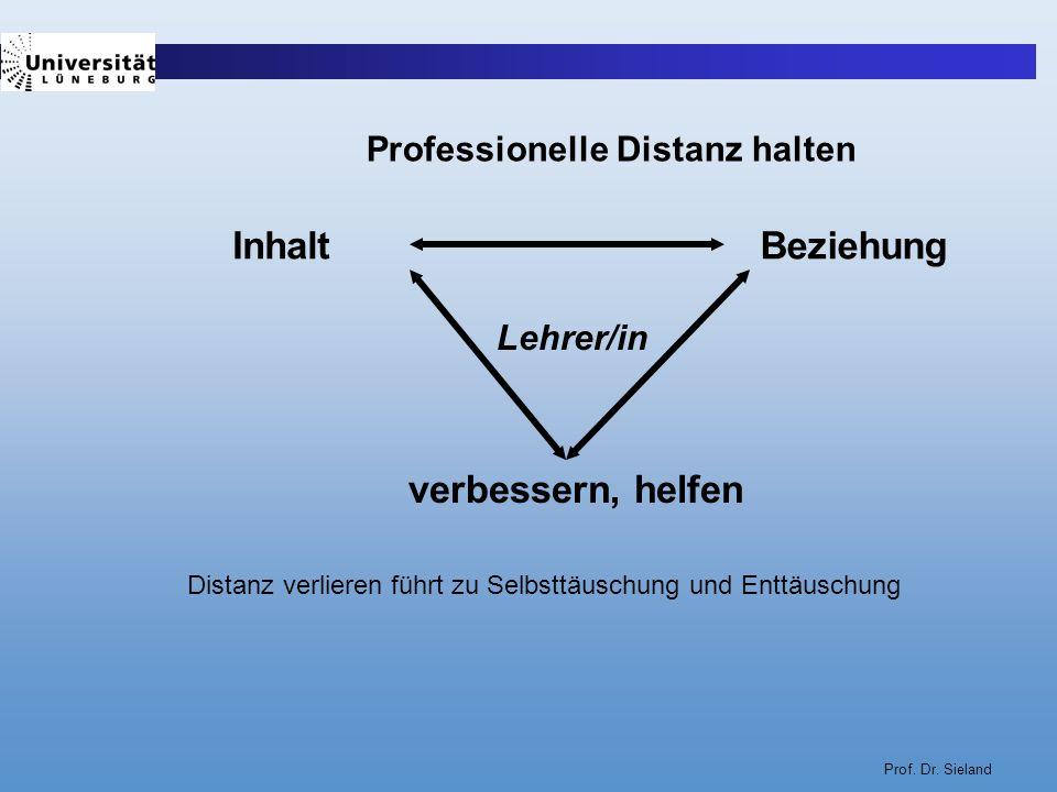 Prof. Dr. Sieland InhaltBeziehung verbessern, helfen Lehrer/in Distanz verlieren führt zu Selbsttäuschung und Enttäuschung Professionelle Distanz halt