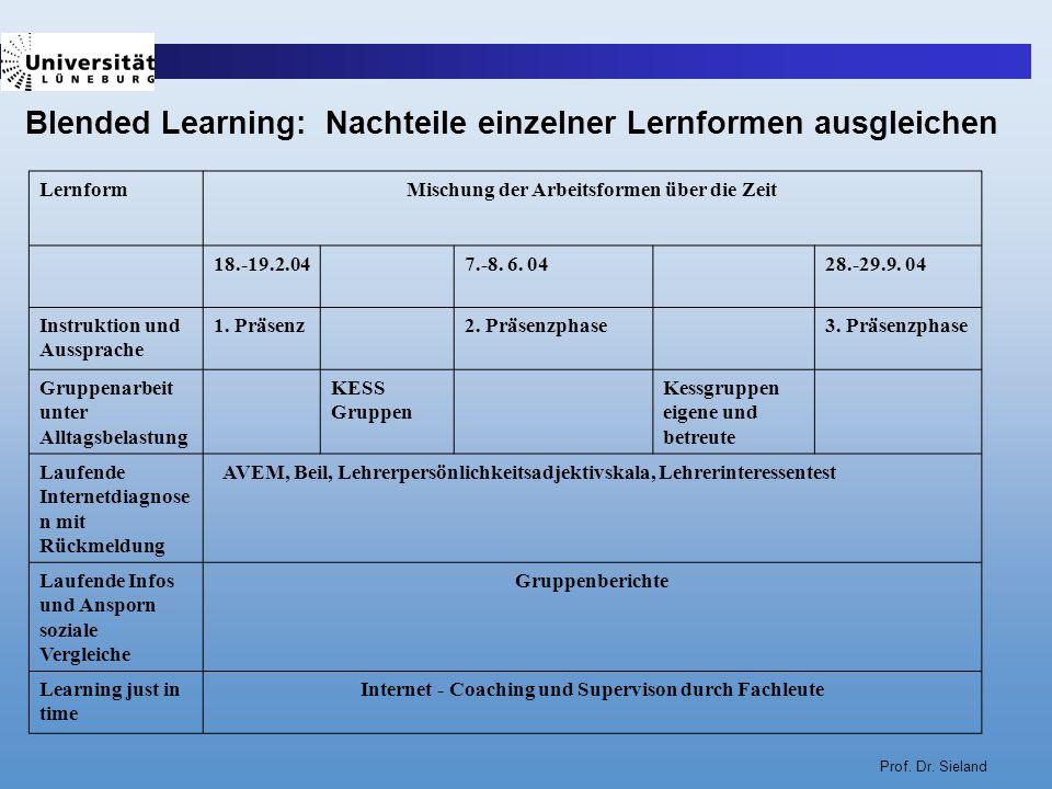 Prof. Dr. Sieland LernformMischung der Arbeitsformen über die Zeit 18.-19.2.047.-8. 6. 0428.-29.9. 04 Instruktion und Aussprache 1. Präsenz2. Präsenzp