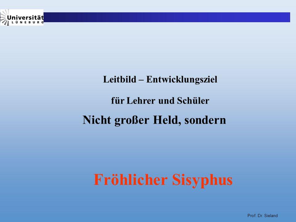Prof. Dr. Sieland Leitbild – Entwicklungsziel für Lehrer und Schüler Nicht großer Held, sondern Fröhlicher Sisyphus