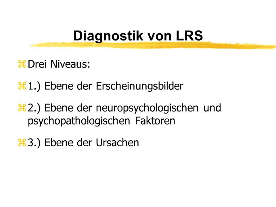 Diagnostik von LRS zDrei Niveaus: z1.) Ebene der Erscheinungsbilder z2.) Ebene der neuropsychologischen und psychopathologischen Faktoren z3.) Ebene d