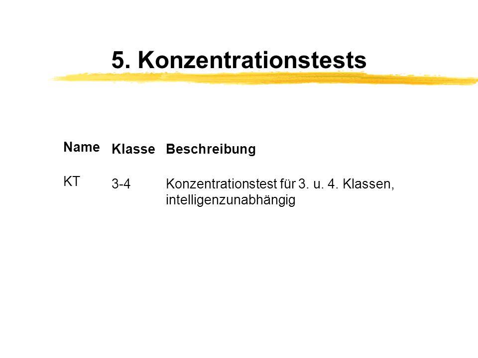 5. Konzentrationstests Name KlasseBeschreibung KT 3-4Konzentrationstest für 3. u. 4. Klassen, intelligenzunabhängig