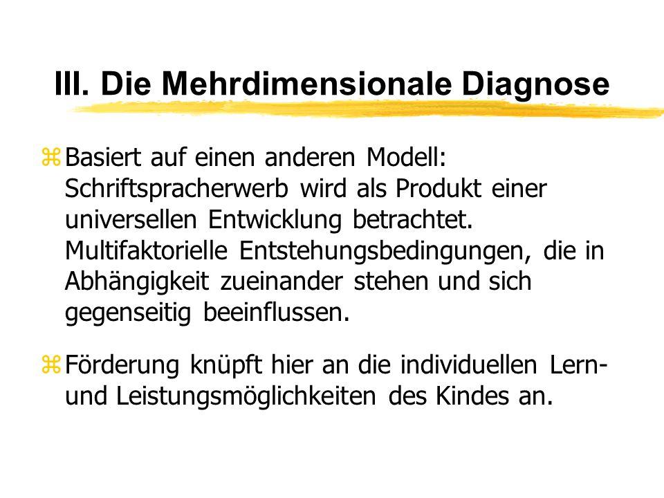 III. Die Mehrdimensionale Diagnose zBasiert auf einen anderen Modell: Schriftspracherwerb wird als Produkt einer universellen Entwicklung betrachtet.