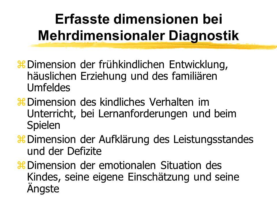 Erfasste dimensionen bei Mehrdimensionaler Diagnostik z Dimension der frühkindlichen Entwicklung, häuslichen Erziehung und des familiären Umfeldes z D