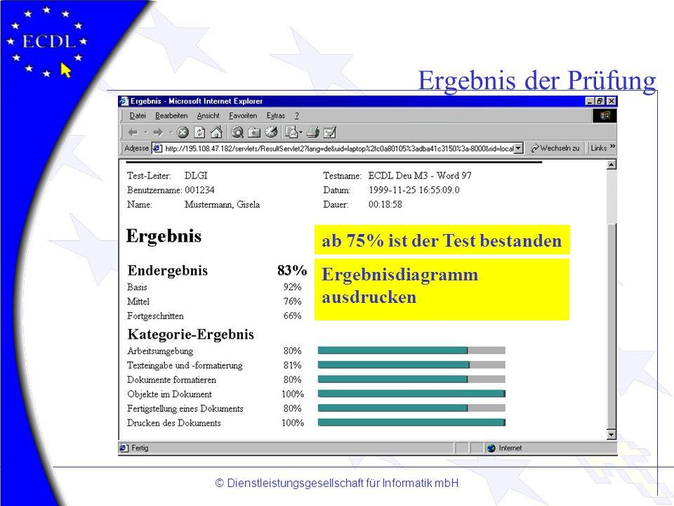© Dienstleistungsgesellschaft für Informatik mbH Ergebnis der Prüfung ab 75% ist der Test bestanden Ergebnisdiagramm ausdrucken