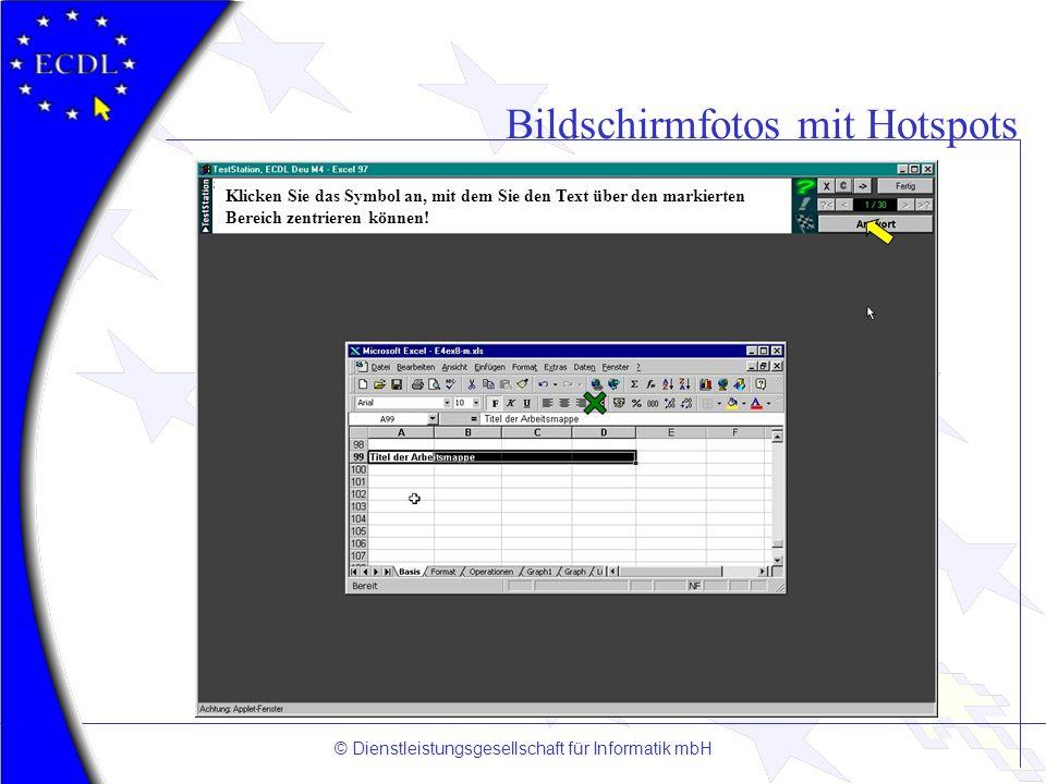 © Dienstleistungsgesellschaft für Informatik mbH Bildschirmfotos mit Hotspots Klicken Sie das Symbol an, mit dem Sie den Text über den markierten Bere