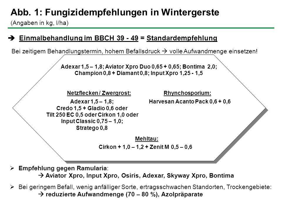 Abb. 1: Fungizidempfehlungen in Wintergerste (Angaben in kg, l/ha) Einmalbehandlung im BBCH 39 - 49 = Standardempfehlung Bei zeitigem Behandlungstermi