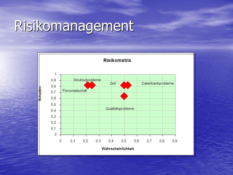 Risikomanagement Risikomatrix ZeitDatenbankprobleme Qualitätsprobleme Personalausfall 0 0,1 0,2 0,3 0,4 0,5 0,6 0,7 0,8 0,9 1 00,10,20,30,40,50,60,70,