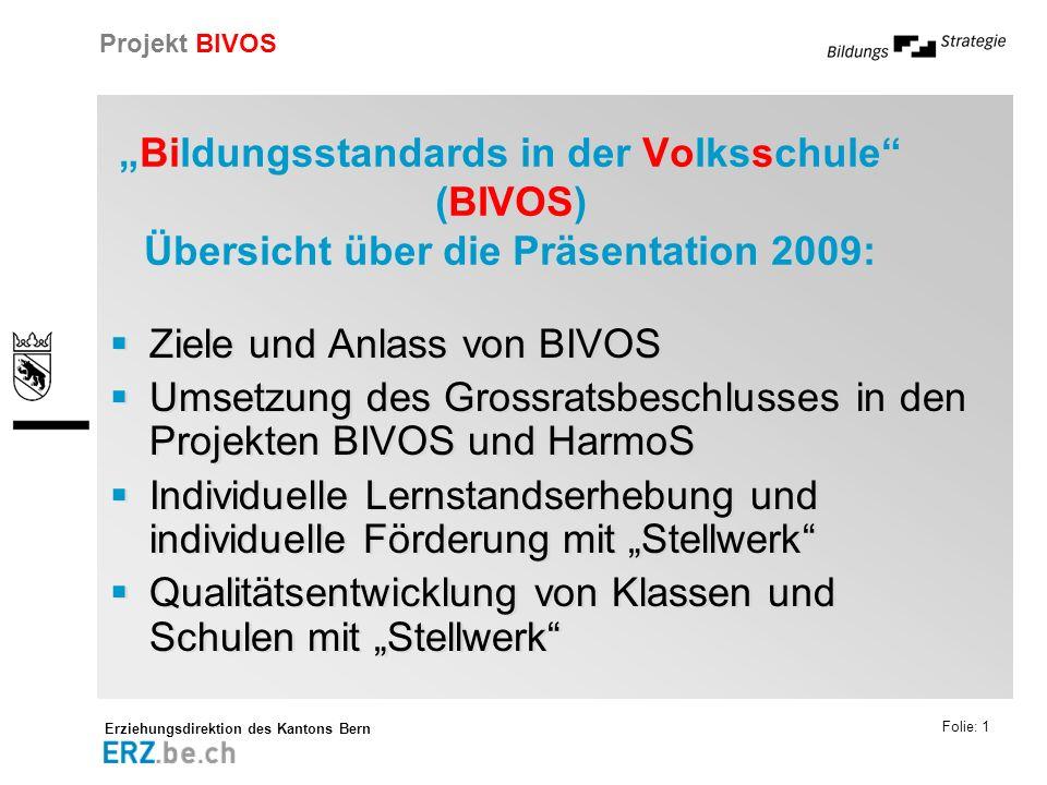 Erziehungsdirektion des Kantons Bern Projekt BIVOS Folie: 1 Bildungsstandards in der Volksschule (BIVOS) Übersicht über die Präsentation 2009: Ziele u