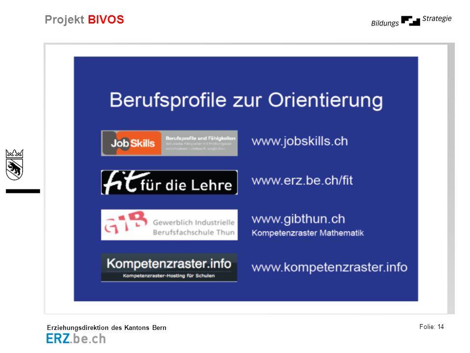 Erziehungsdirektion des Kantons Bern Projekt BIVOS Folie: 14