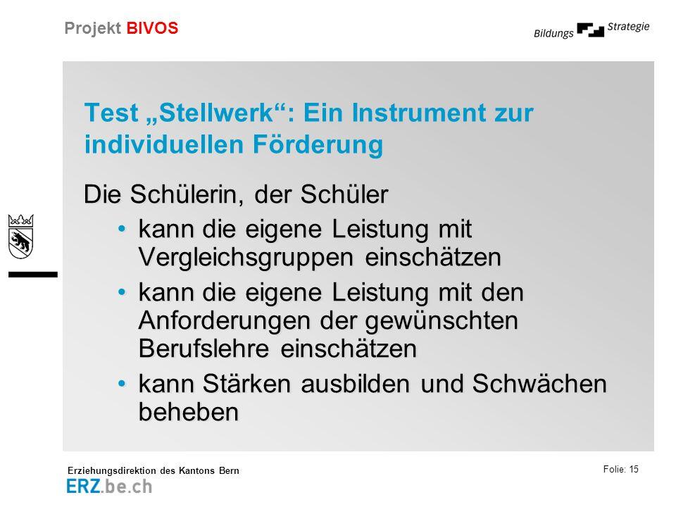 Erziehungsdirektion des Kantons Bern Projekt BIVOS Folie: 15 Test Stellwerk: Ein Instrument zur individuellen Förderung Die Schülerin, der Schüler kan