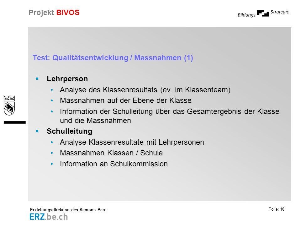 Erziehungsdirektion des Kantons Bern Projekt BIVOS Folie: 18 Test: Qualitätsentwicklung / Massnahmen (1) Lehrperson Analyse des Klassenresultats (ev.