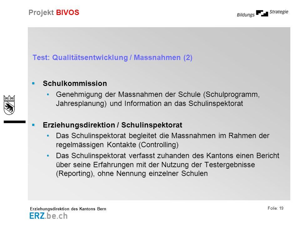 Erziehungsdirektion des Kantons Bern Projekt BIVOS Folie: 19 Test: Qualitätsentwicklung / Massnahmen (2) Schulkommission Genehmigung der Massnahmen de