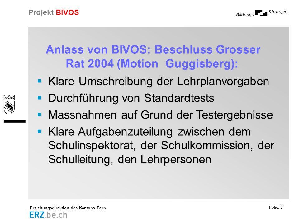 Erziehungsdirektion des Kantons Bern Projekt BIVOS Folie: 4 Umsetzung des Grossratsbeschlusses in den Projekten BIVOS und HarmoS Umsetzung von Teilen des Grossratsbeschlusses in BIVOS Tests mit Stellwerk in Math.