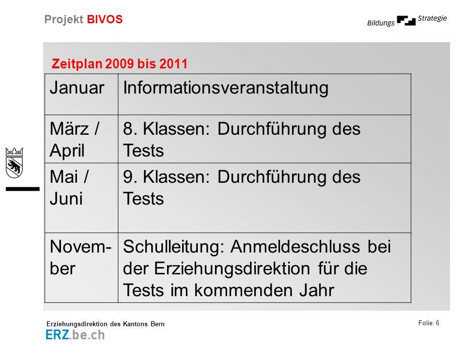Erziehungsdirektion des Kantons Bern Projekt BIVOS Folie: 6 Zeitplan 2009 bis 2011 JanuarInformationsveranstaltung März / April 8. Klassen: Durchführu