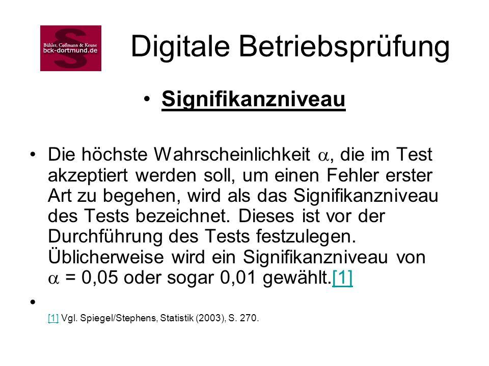 Digitale Betriebsprüfung Signifikanzniveau Die höchste Wahrscheinlichkeit, die im Test akzeptiert werden soll, um einen Fehler erster Art zu begehen,