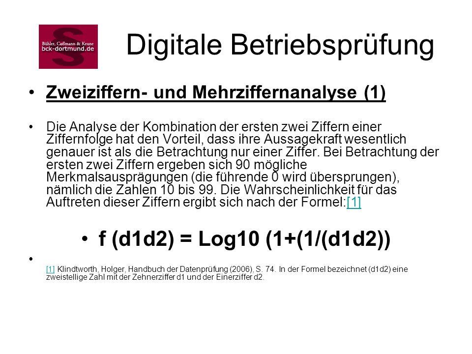 Digitale Betriebsprüfung Zweiziffern- und Mehrziffernanalyse (1) Die Analyse der Kombination der ersten zwei Ziffern einer Ziffernfolge hat den Vortei