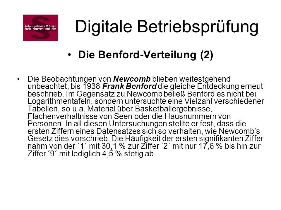 Digitale Betriebsprüfung Die Benford-Verteilung (2) Die Beobachtungen von Newcomb blieben weitestgehend unbeachtet, bis 1938 Frank Benford die gleiche