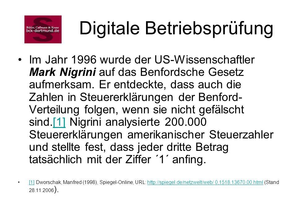 Digitale Betriebsprüfung Im Jahr 1996 wurde der US-Wissenschaftler Mark Nigrini auf das Benfordsche Gesetz aufmerksam. Er entdeckte, dass auch die Zah