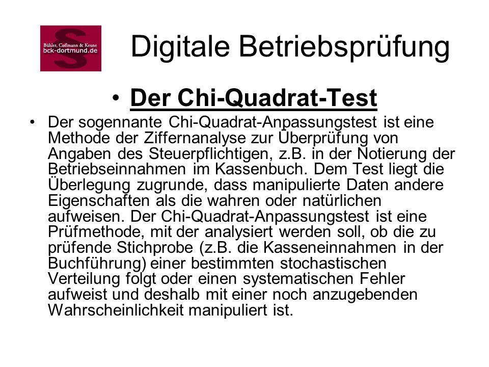 Digitale Betriebsprüfung Der Chi-Quadrat-Test Der sogennante Chi-Quadrat-Anpassungstest ist eine Methode der Ziffernanalyse zur Überprüfung von Angabe