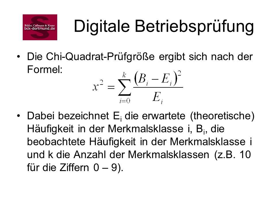 Digitale Betriebsprüfung Die Chi-Quadrat-Prüfgröße ergibt sich nach der Formel: Dabei bezeichnet E i die erwartete (theoretische) Häufigkeit in der Me