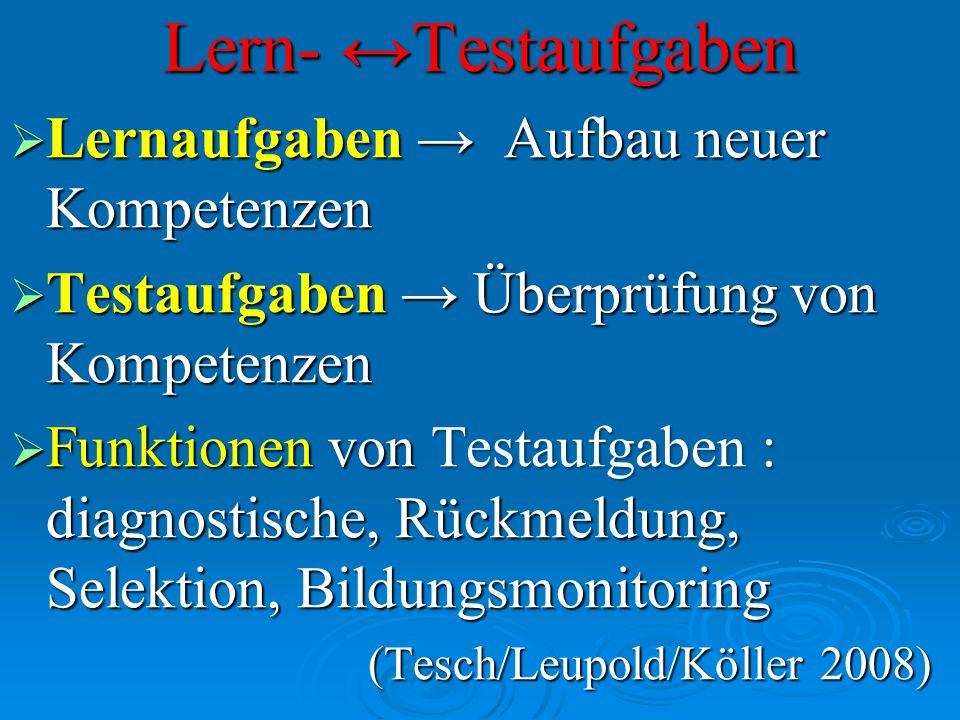 Lern- Testaufgaben Lernaufgaben Aufbau neuer Kompetenzen Lernaufgaben Aufbau neuer Kompetenzen Testaufgaben Überprüfung von Kompetenzen Testaufgaben Ü