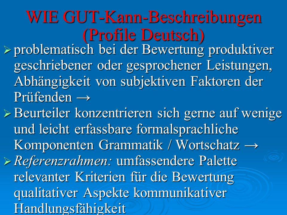 WIE GUT-Kann-Beschreibungen (Profile Deutsch) problematisch bei der Bewertung produktiver geschriebener oder gesprochener Leistungen, Abhängigkeit von