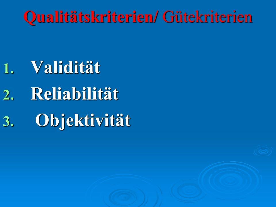 Qualitätskriterien/ Gütekriterien 1. Validität 2. Reliabilität 3. Objektivität