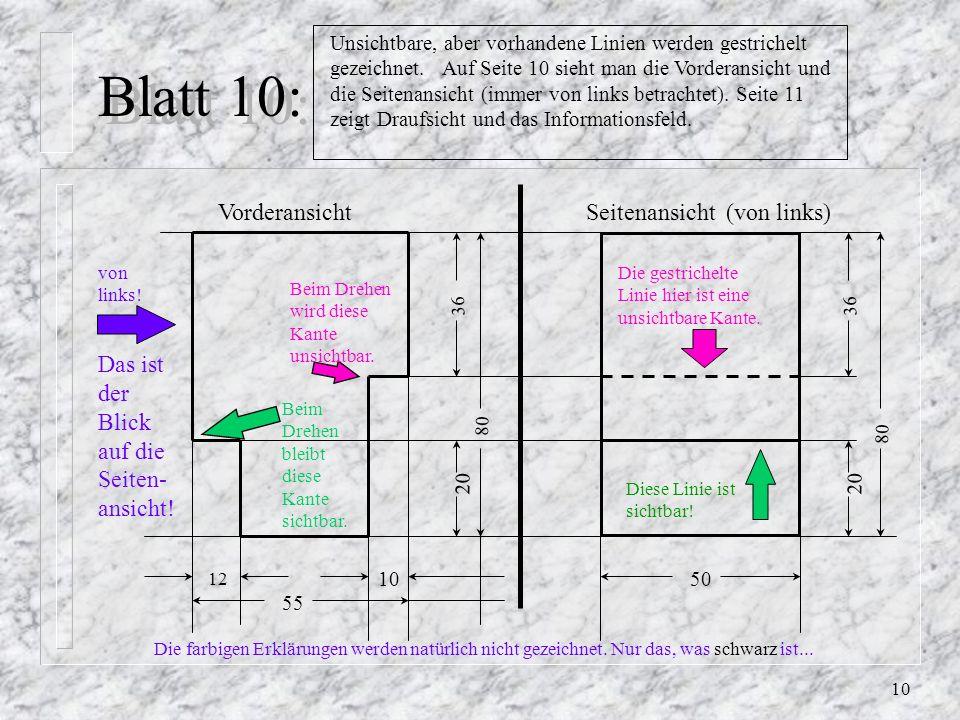 9 Blatt 9: Regel 8: So wenig Maßlinien wie möglich, so viele wie nötig. Regel 9: Linien in einem Zug durchziehen, nicht neu ansetzen. 12 36 80 10 55 ?