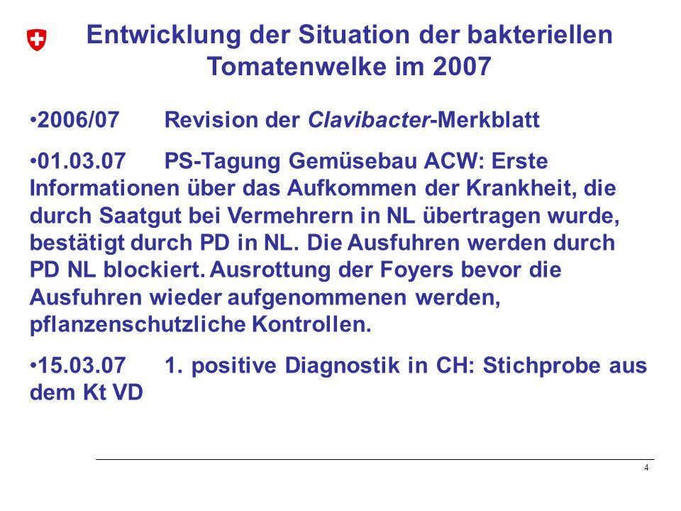 4 Entwicklung der Situation der bakteriellen Tomatenwelke im 2007 2006/07 Revision der Clavibacter-Merkblatt 01.03.07 PS-Tagung Gemüsebau ACW: Erste I