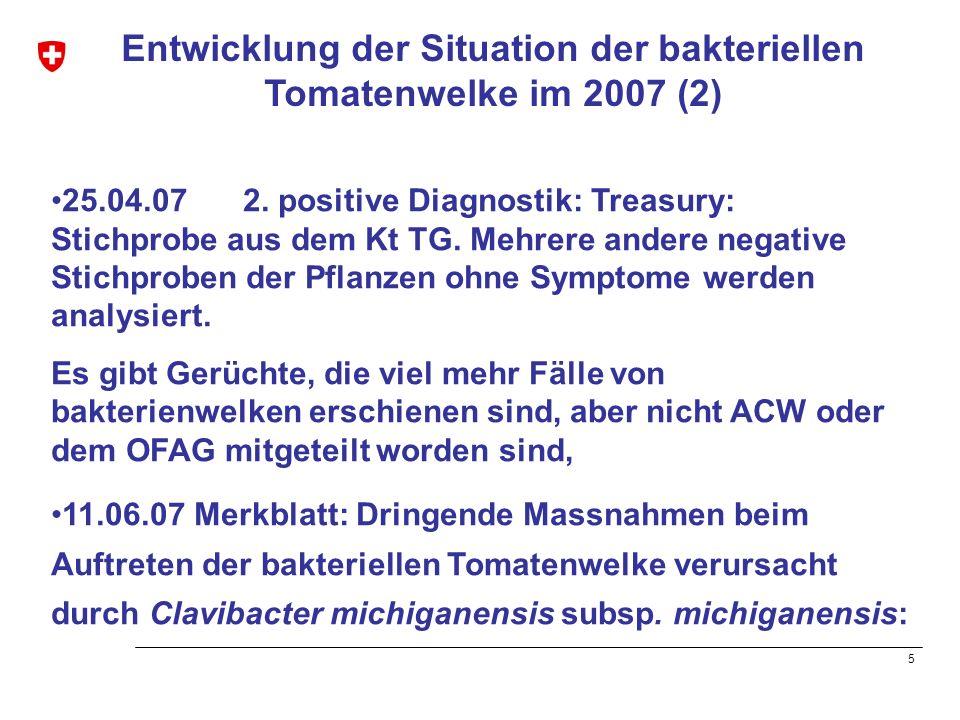 6 Entwicklung der Situation der bakteriellen Tomatenwelke im 2007 (3) Obwohl der Krankheitserreger als Quarantäne- Organismus eingestuft und sein Auftreten den gesetzlichen Bestimmungen meldepflichtig ist, sind den zuständigen kantonalen Fachstellen insgesamt nur wenige Fälle gemeldet worden.