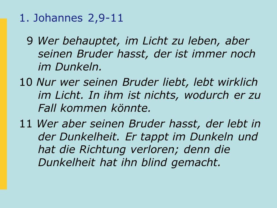 1. Johannes 2,9-11 9 Wer behauptet, im Licht zu leben, aber seinen Bruder hasst, der ist immer noch im Dunkeln. 10 Nur wer seinen Bruder liebt, lebt w