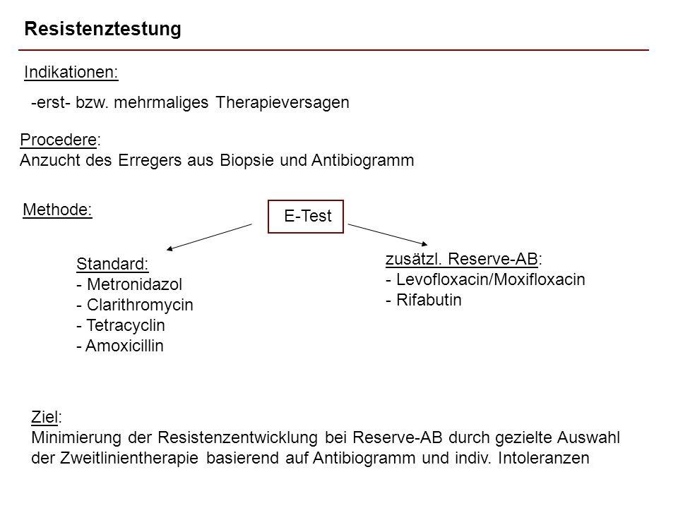 Resistenztestung -erst- bzw. mehrmaliges Therapieversagen Standard: - Metronidazol - Clarithromycin - Tetracyclin - Amoxicillin Indikationen: zusätzl.