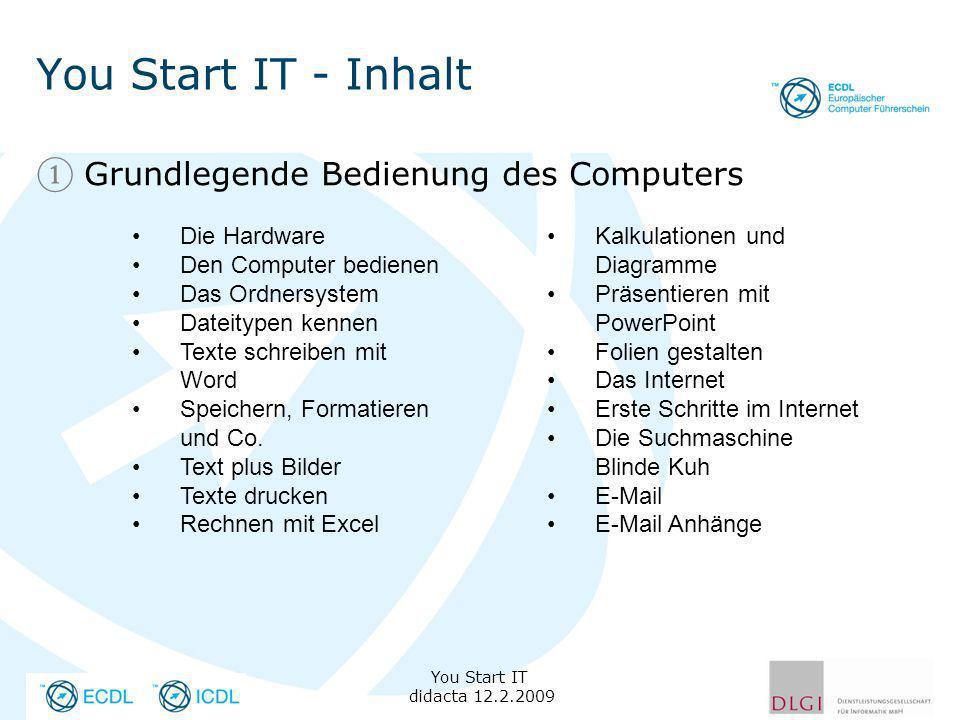 You Start IT - Inhalt Grundlegende Bedienung des Computers You Start IT didacta 12.2.2009 Die Hardware Den Computer bedienen Das Ordnersystem Dateityp