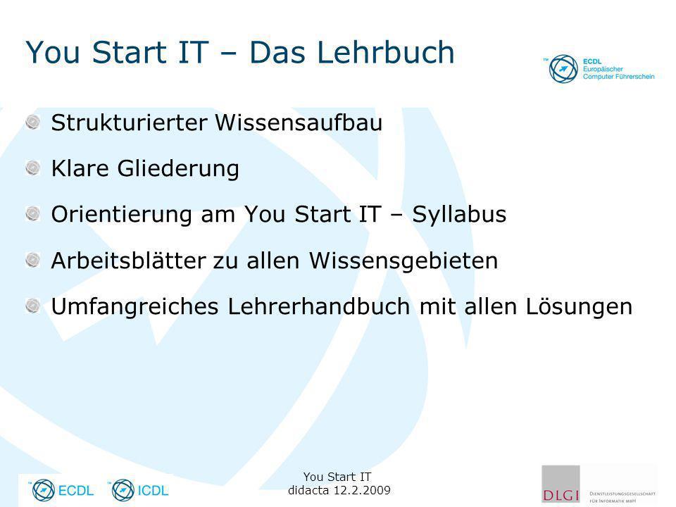 You Start IT – Das Lehrbuch Strukturierter Wissensaufbau Klare Gliederung Orientierung am You Start IT – Syllabus Arbeitsblätter zu allen Wissensgebie
