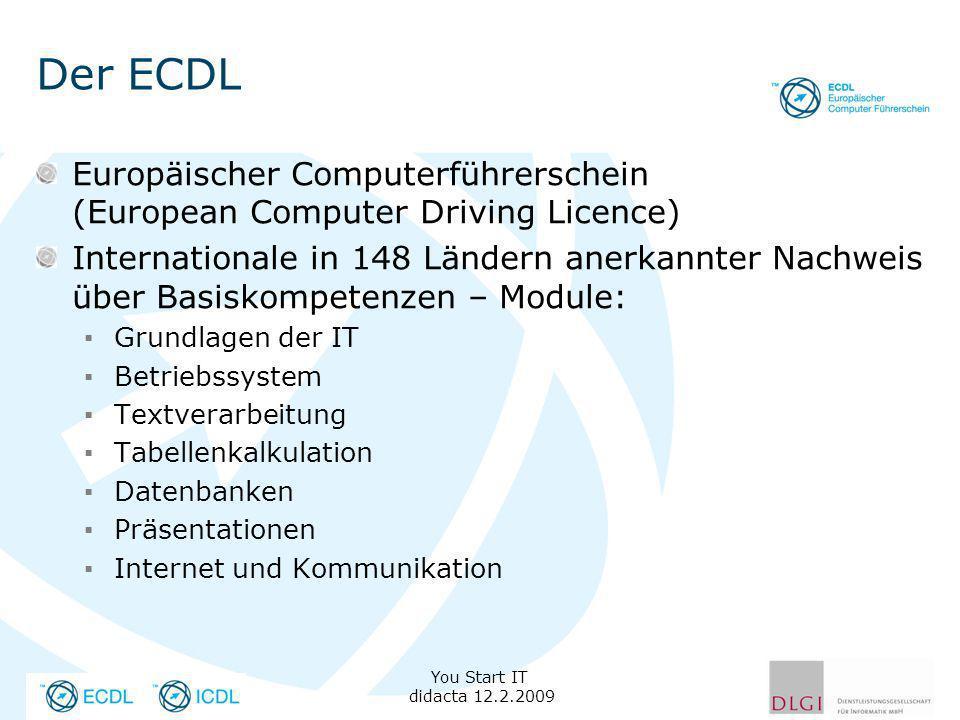 Der ECDL You Start IT didacta 12.2.2009 Europäischer Computerführerschein (European Computer Driving Licence) Internationale in 148 Ländern anerkannter Nachweis über Basiskompetenzen – Module: Grundlagen der IT Betriebssystem Textverarbeitung Tabellenkalkulation Datenbanken Präsentationen Internet und Kommunikation