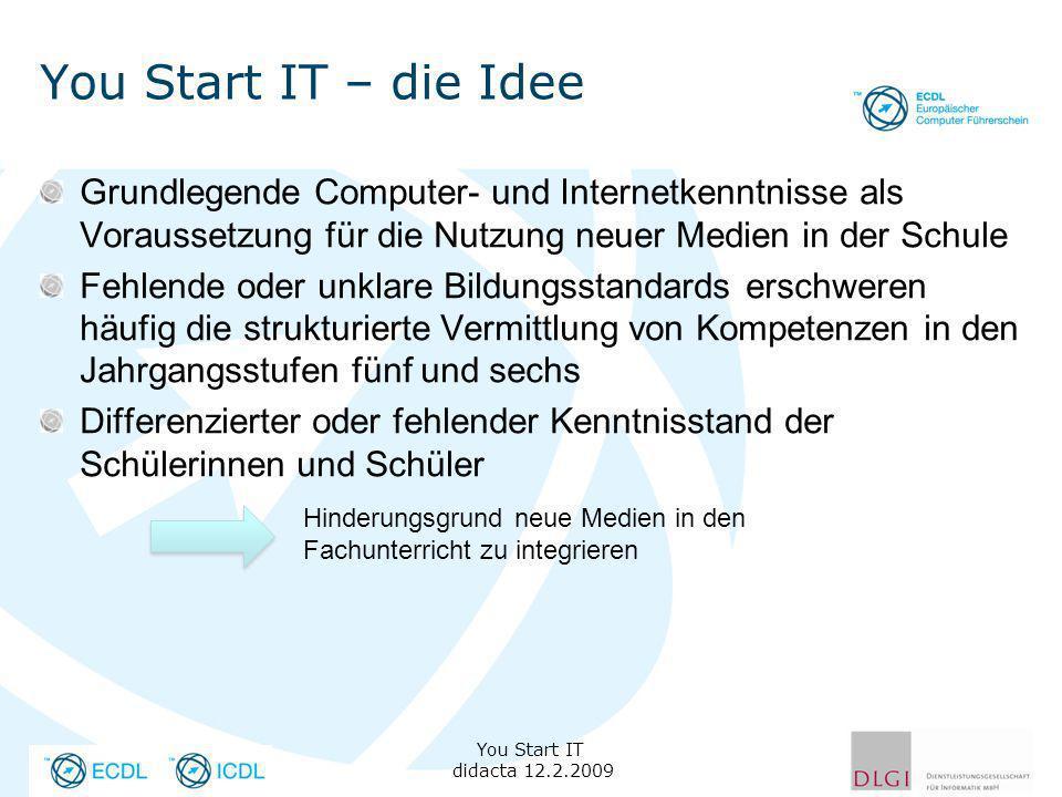 You Start IT – die Idee Grundlegende Computer- und Internetkenntnisse als Voraussetzung für die Nutzung neuer Medien in der Schule Fehlende oder unkla