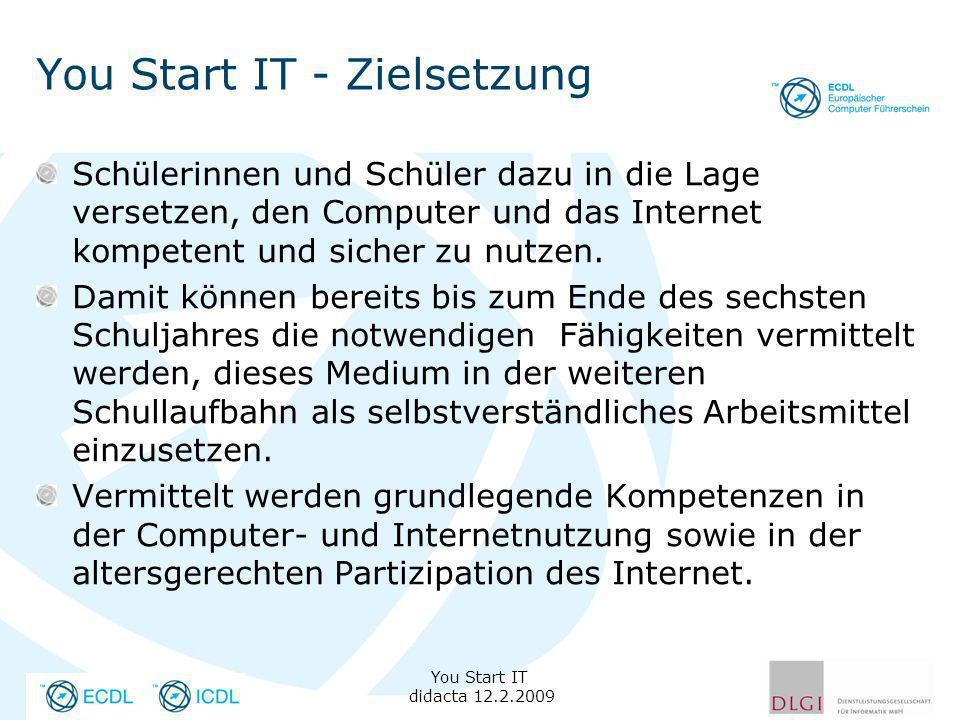 You Start IT - Zielsetzung Schülerinnen und Schüler dazu in die Lage versetzen, den Computer und das Internet kompetent und sicher zu nutzen. Damit kö