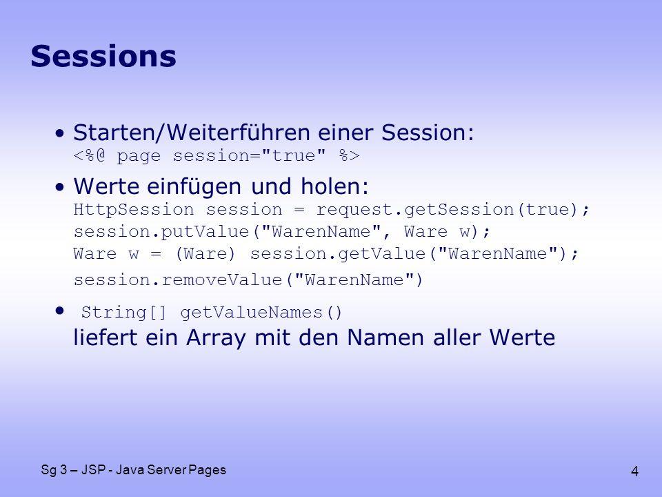 15 Sg 3 – JSP - Java Server Pages Tag Library Descriptor File example taghandler.ExampleTag JSP bgColor false Vorher: statt JSP EMPTY