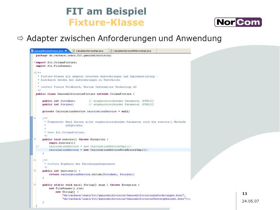 11 24.05.07 FIT am Beispiel Fixture-Klasse Adapter zwischen Anforderungen und Anwendung