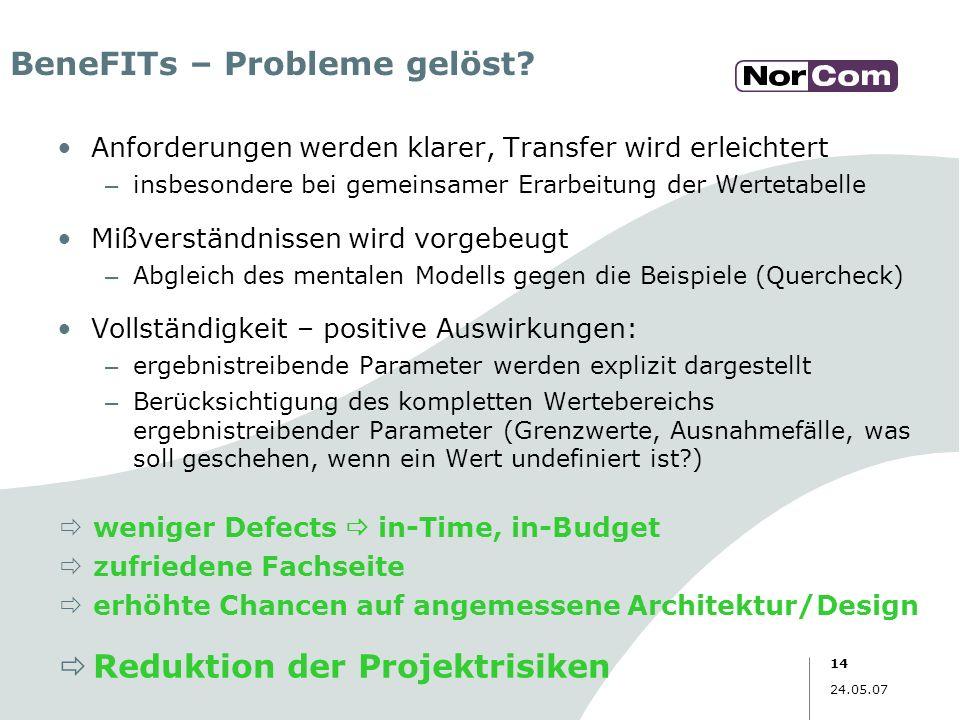 14 24.05.07 BeneFITs – Probleme gelöst? Anforderungen werden klarer, Transfer wird erleichtert – insbesondere bei gemeinsamer Erarbeitung der Wertetab
