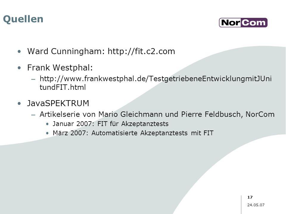 17 24.05.07 Quellen Ward Cunningham: http://fit.c2.com Frank Westphal: – http://www.frankwestphal.de/TestgetriebeneEntwicklungmitJUni tundFIT.html Jav