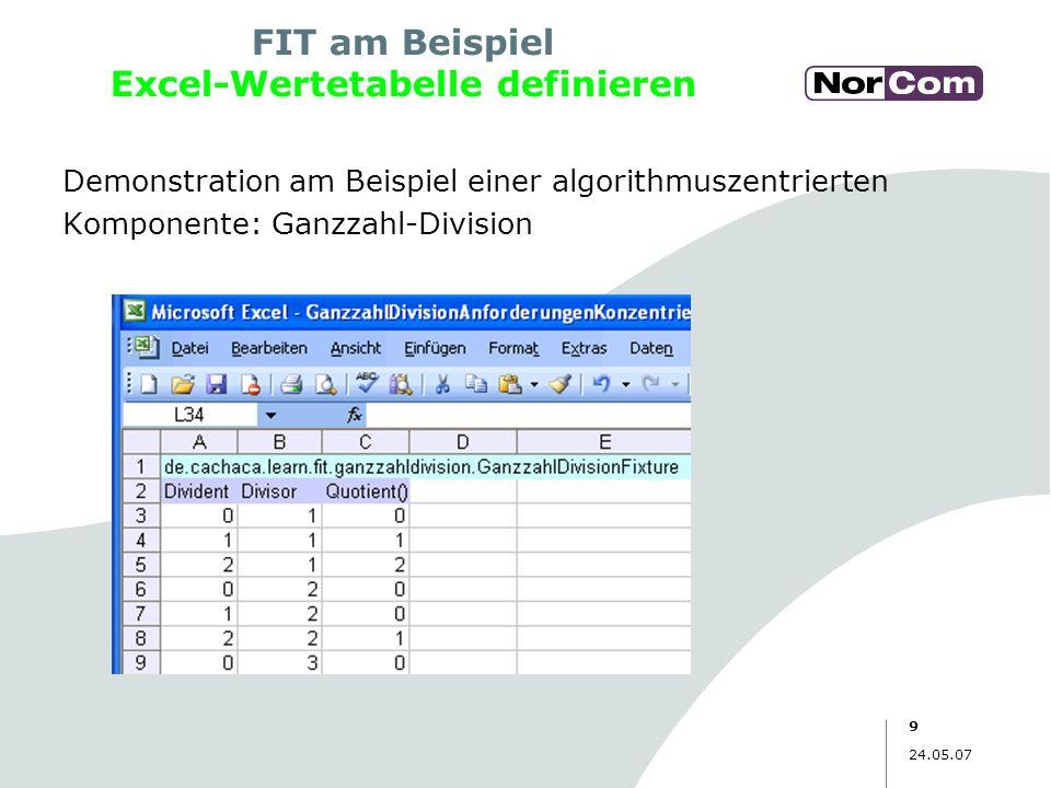 9 24.05.07 Demonstration am Beispiel einer algorithmuszentrierten Komponente: Ganzzahl-Division FIT am Beispiel Excel-Wertetabelle definieren